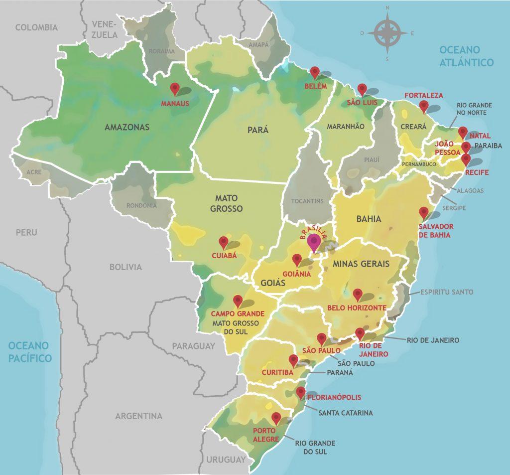 Mapa Do Brasil Com Estados Capitais E Regi U00f5es