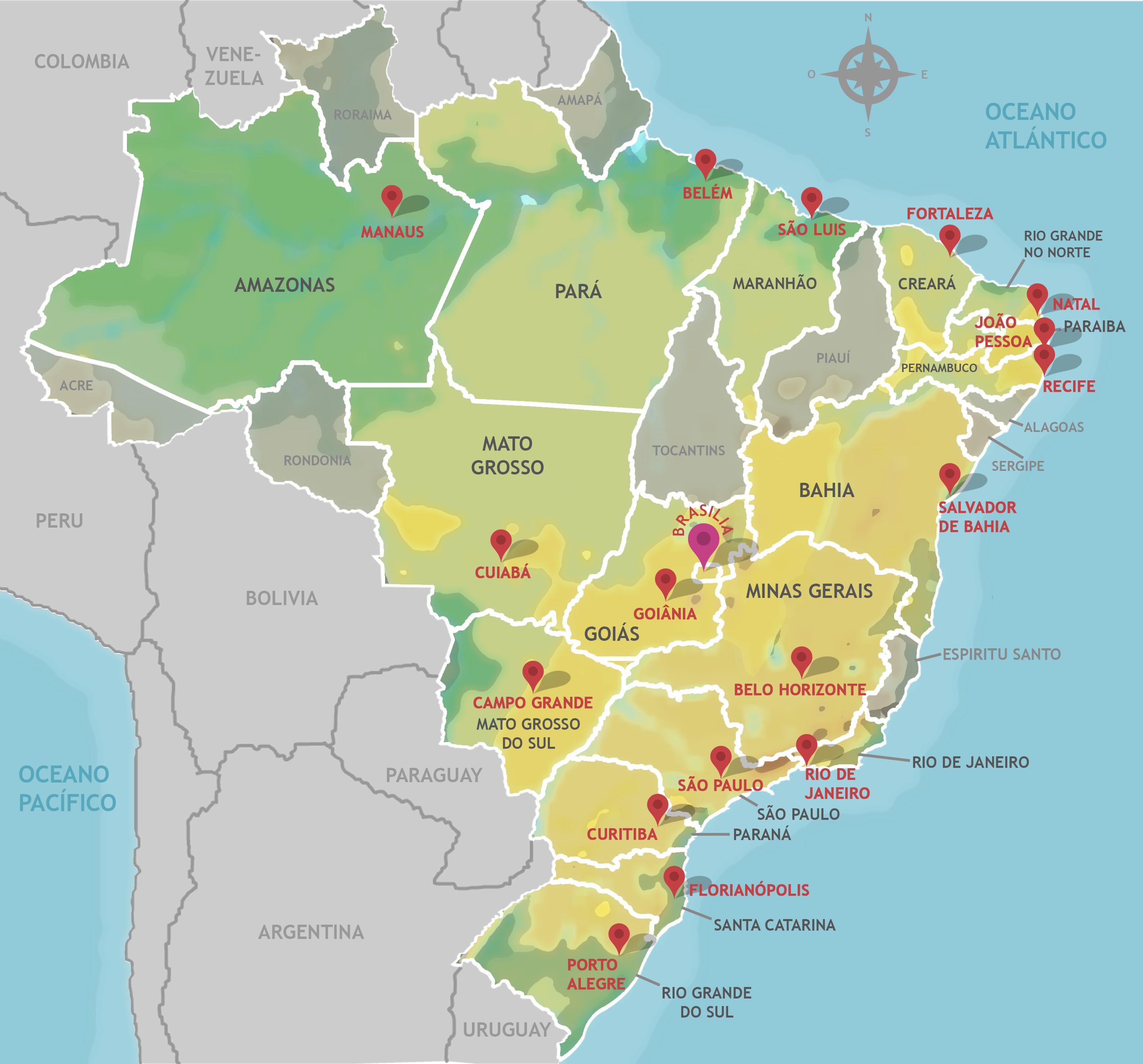 Mapa do Brasil Estados, Capitais e Regiões