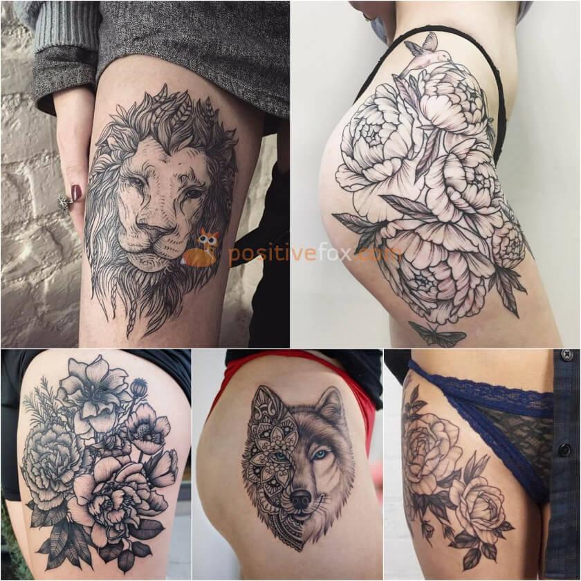 Tatuagem-feminina-coxa-lobo-flores-leao